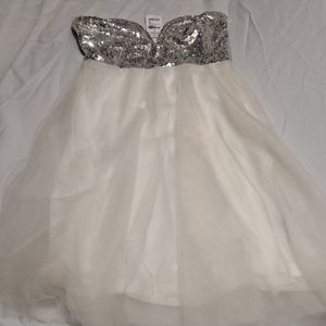 CHARLOTTE RUSSE PROM DRESS WHITE SEQUINS